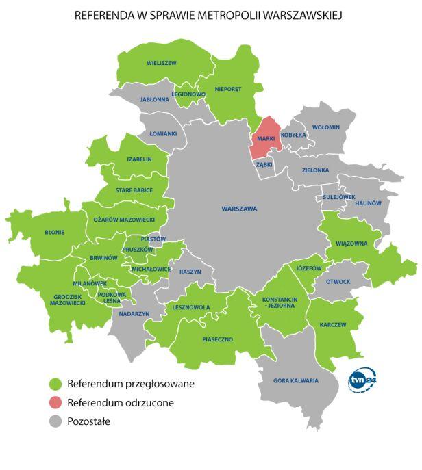 Gdzie odbędą się referenda w sprawie metropolii? TVN24