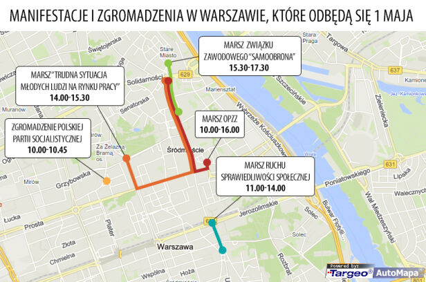 Marsze 1 maja w Warszawie targeo.pl