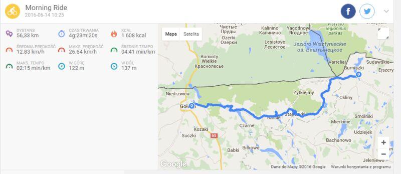 Trasa z Gołdapi do Wiżajn (endomondo)