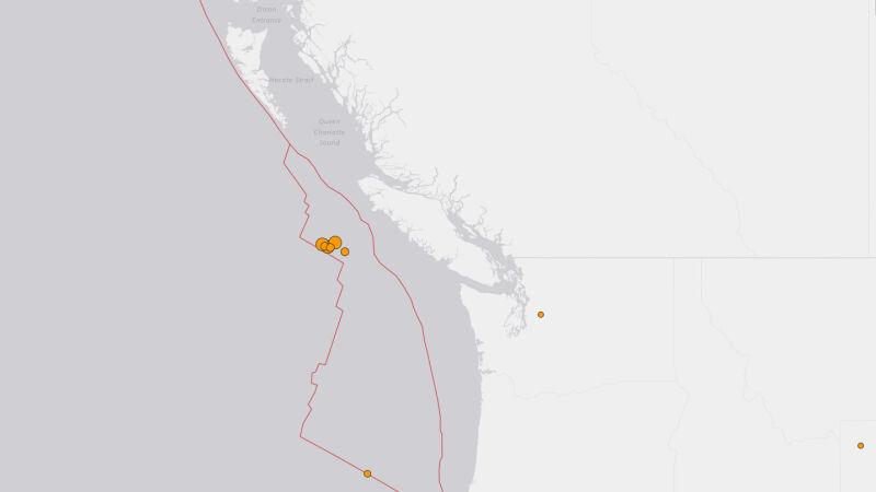 Miejsce wystąpienia trzęsień i wstrząsów wtórnych (USGS)