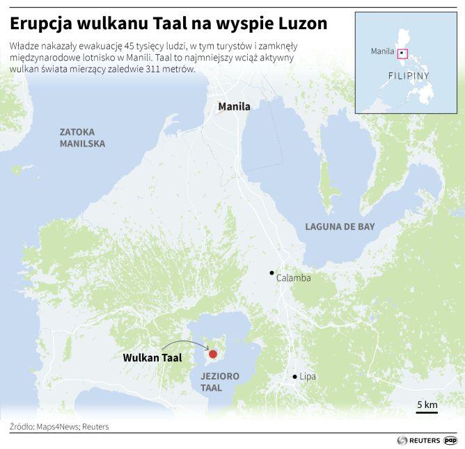 Erupcja wulkanu Taal na Filipinach (Adam Ziemienowicz/PAP)
