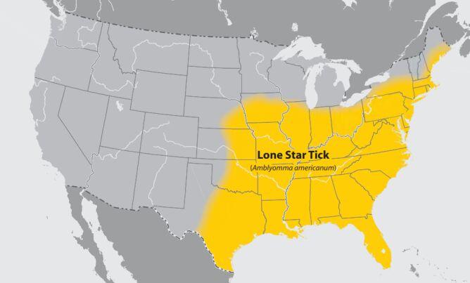 Mapa występowania Amblyomma americanum (CDC)
