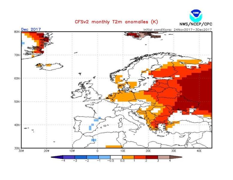 Odchylenie średniej miesięcznej temperatury grudnia 2017 roku (NOAA)