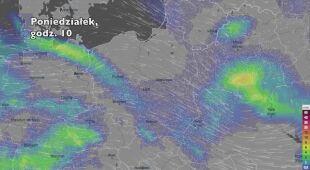 Prognozowane opady w najbliższych godzinach (Ventusky.com) | wideo bez dźwięku